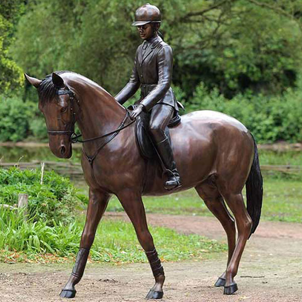 9ft tall cowgirl and horse statues for garden decor