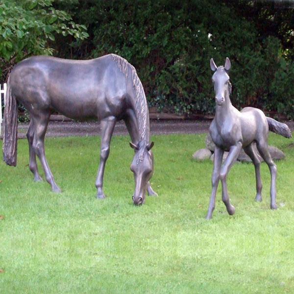 Antique 7ft graze bronze horse with poney statues for outside garden decor