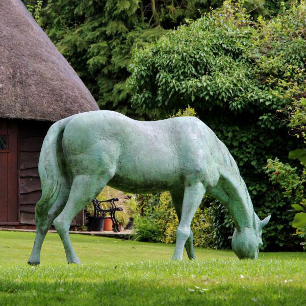 Blue eating grass vintage bronze standing horse 9ft for sale