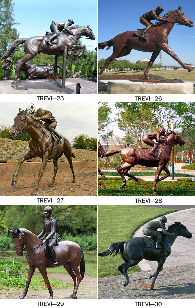 Bronze casting horse racing with jockey statues designs