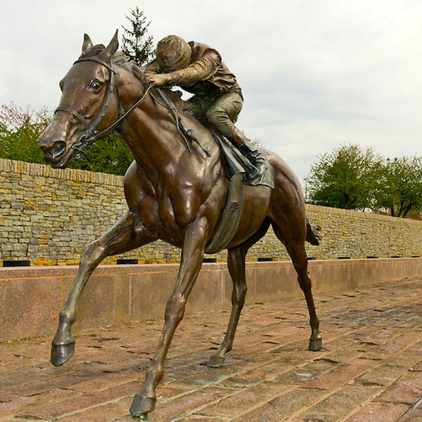 Large Jockey riding horse vintage bronze garden sculptures