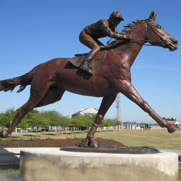 Life size racing horse and jockey bronze statues to buy